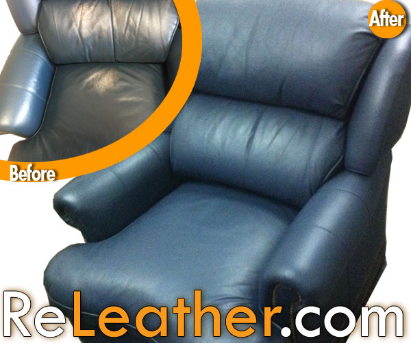Leather Restoration And Dyeing Hancock And Moore Blue Recliner Chair And  Ottoman