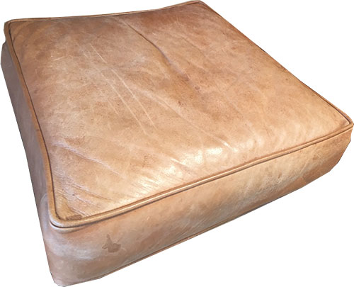 Aniline Leather Cushion Faded Stained