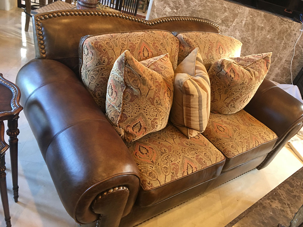 Aniline Leather Loveseat Cleaned and Restored Fabric