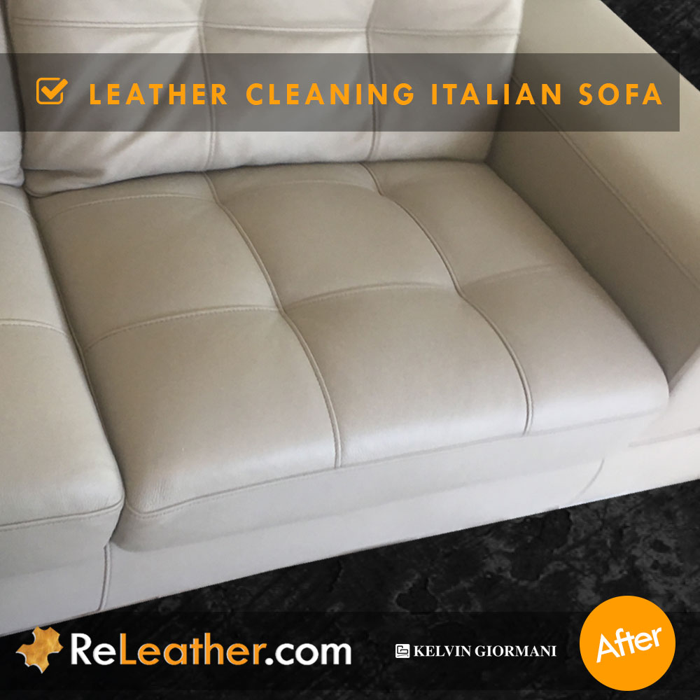 Leather Cleaning Designer Contemporary Sofa -  After