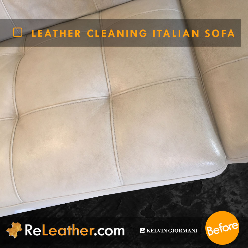 Leather Cleaning Designer Contemporary Sofa - Before