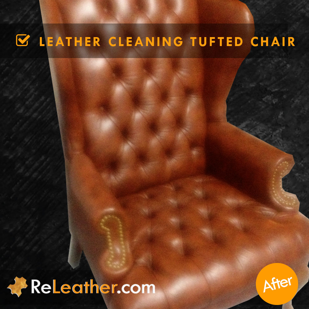 Leather Cleaning Tufted Chippendale Wing Chair -  After