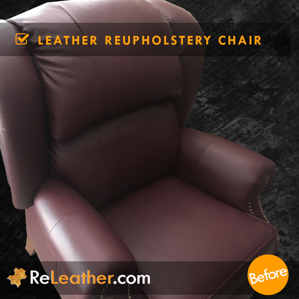 Leather Reupholstery Wingback Recliner Chair  -  After