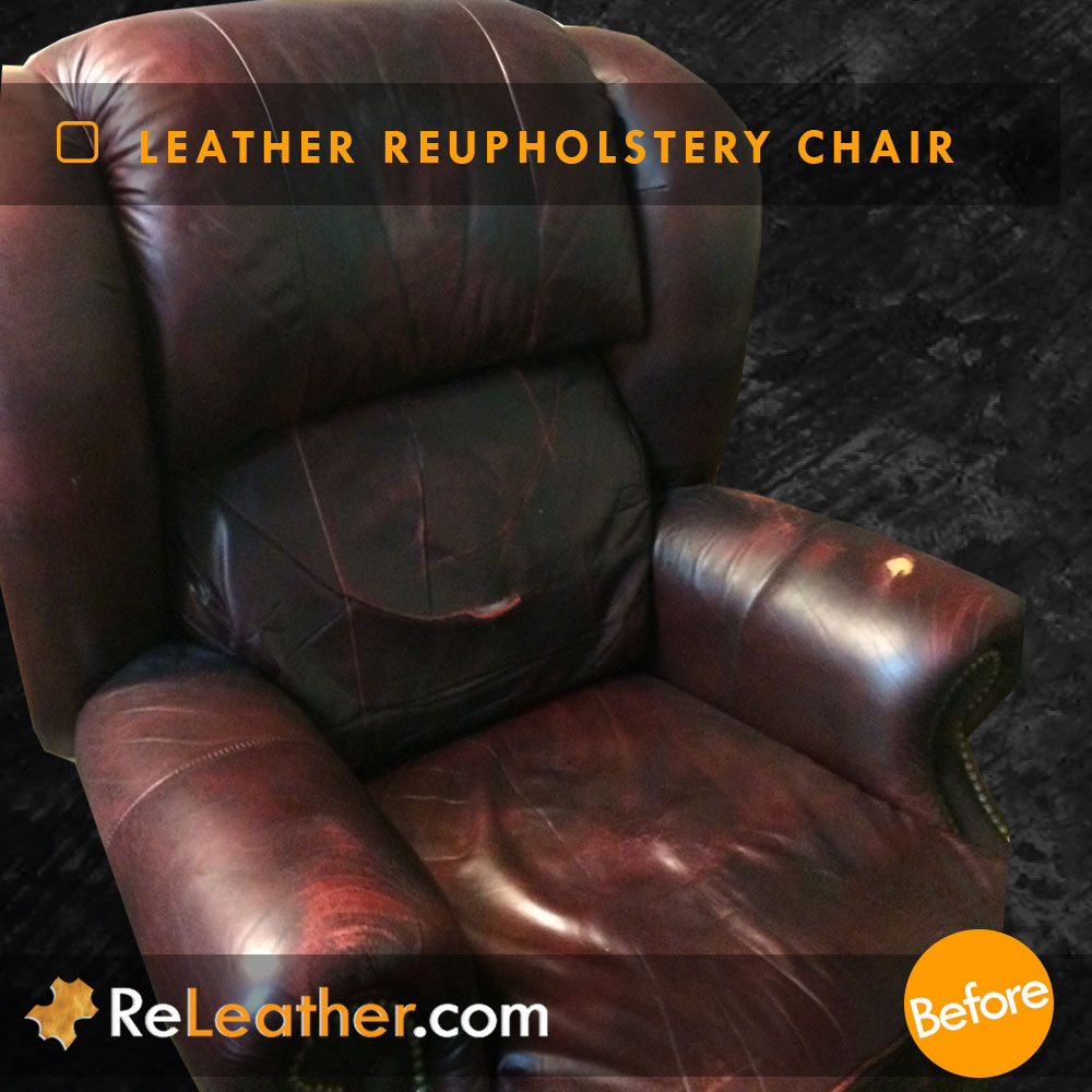 Leather Reupholstery Wingback Recliner Chair - Before